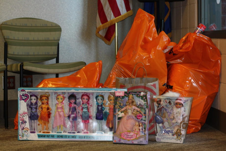 Toys donated to the office for Toys For Tots